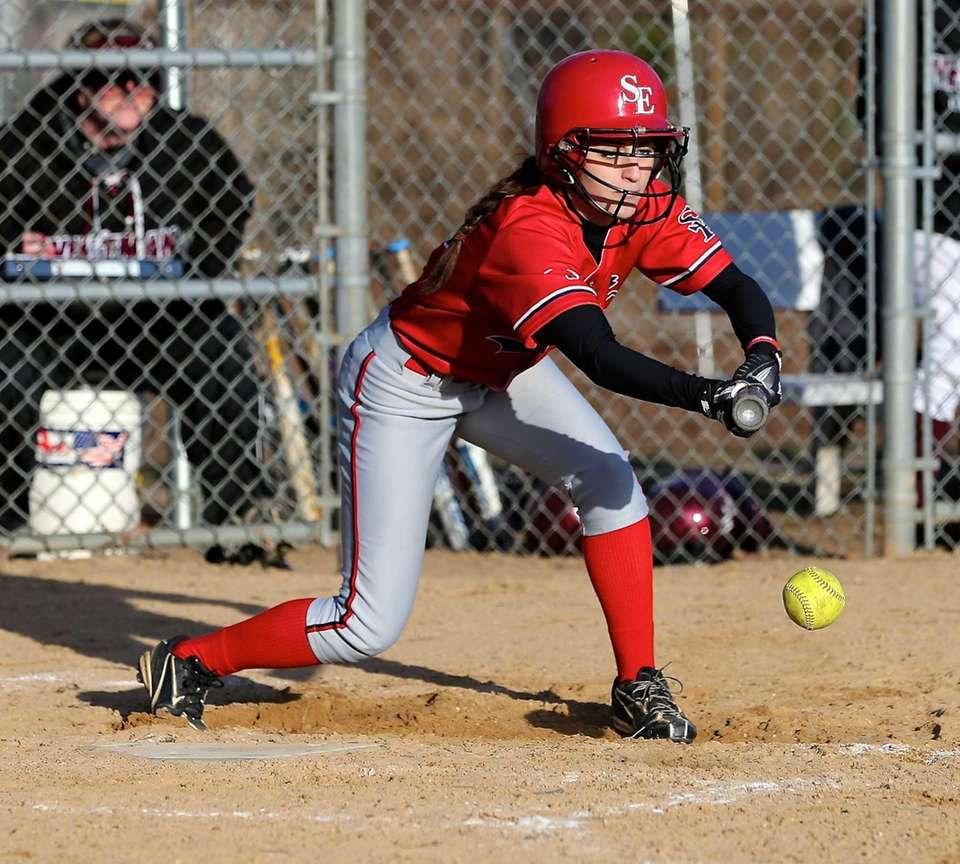 Smithtown East's Alexa Carnemolla lays down a bunt