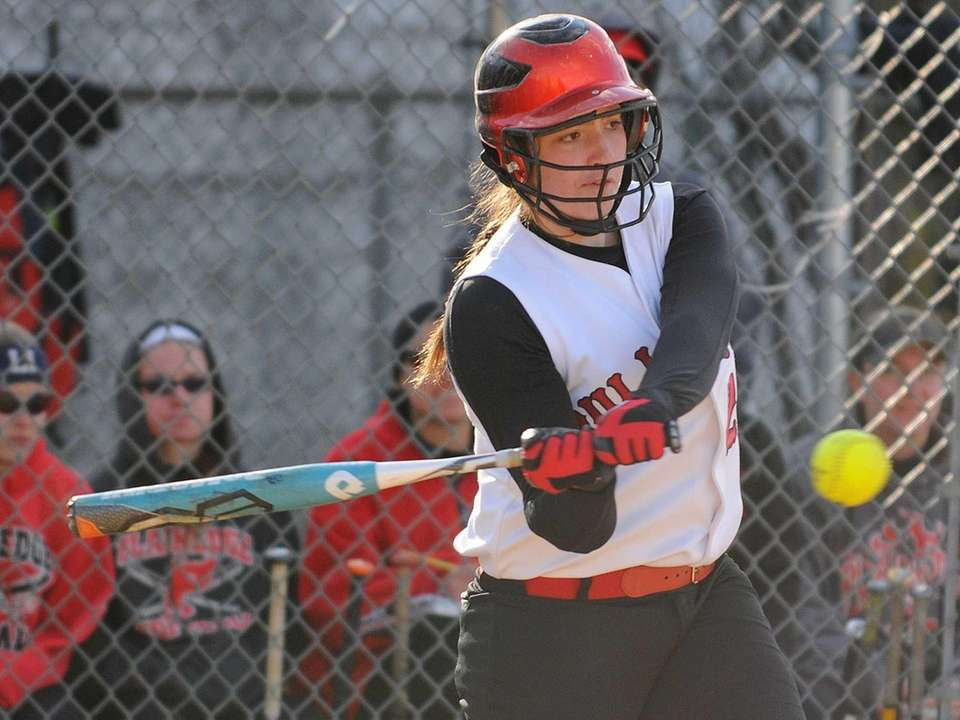 Island Trees pitcher Alannah Basile lines a pitch