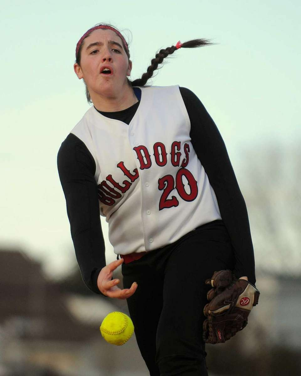 Island Trees pitcher Alannah Basile delivers to the