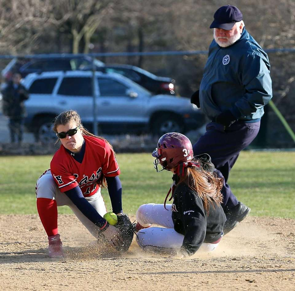 Smithtown East shortstop MacKenzie Buckley can't hold onto
