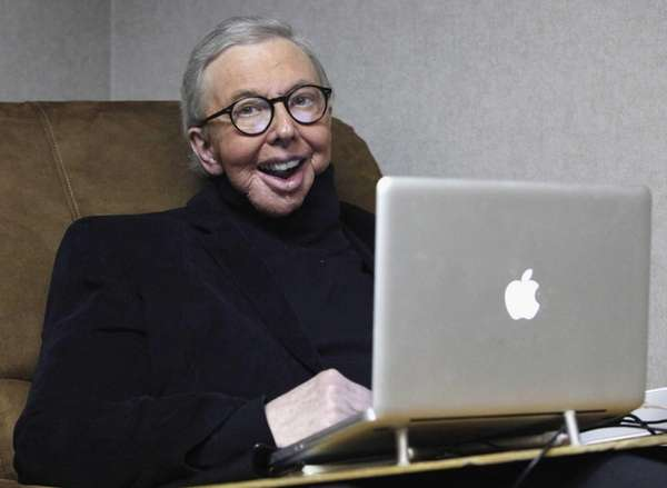 Pulitzer Prize-winning movie critic Roger Ebert works in