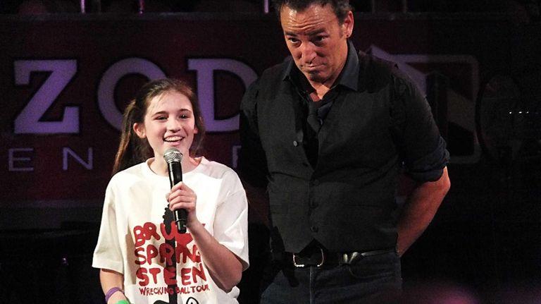 Kidsday reporter Melissa Cooney of Locust Valley onstage