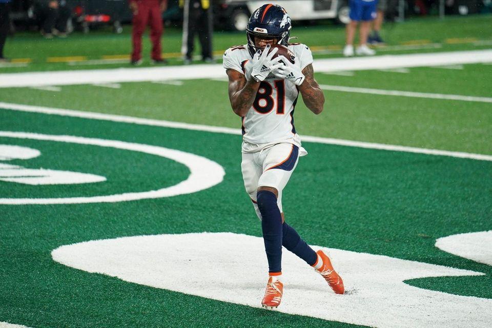 Denver Broncos wide receiver Tim Patrick catches a