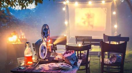 An outdoor movie projector