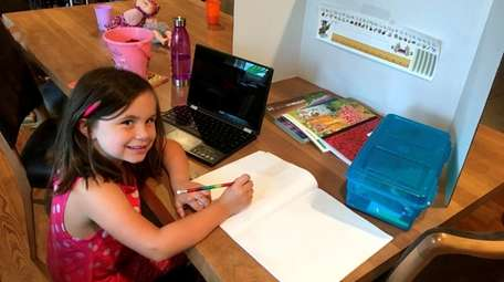In Bellmore, kindergartners in Jennifer Magliano's virtual class
