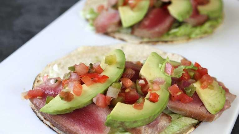 Avocado and seared tuna tacos. (April 2013)