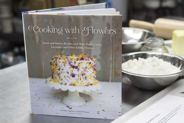 "Greenport chocolatier Miche Bacher's ""Cooking with Flowers"" includes"