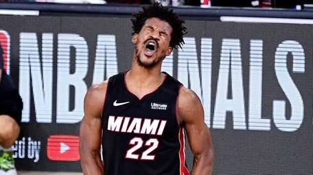 Jimmy Butler #22 of the Miami Heat reacts