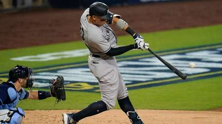 New York Yankees' Aaron Judge  connects for