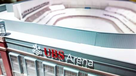A detailed model of the UBS Arena is