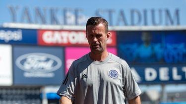 NYCFC coach Ronny Deila walks the field during