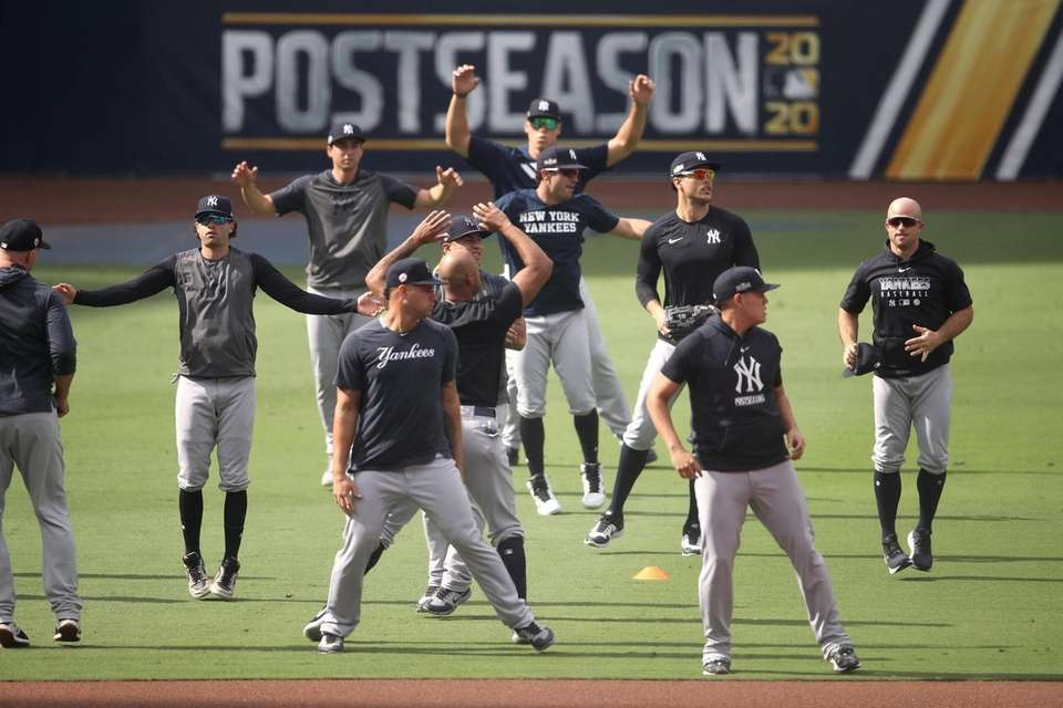 The New York Yankees warm up prior to