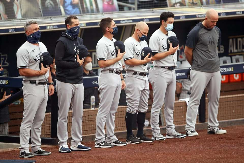 The New York Yankees stand for the national