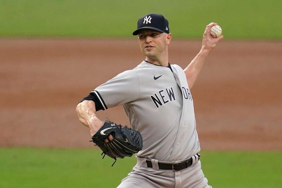 New York Yankees pitcher J.A. Happ throws against
