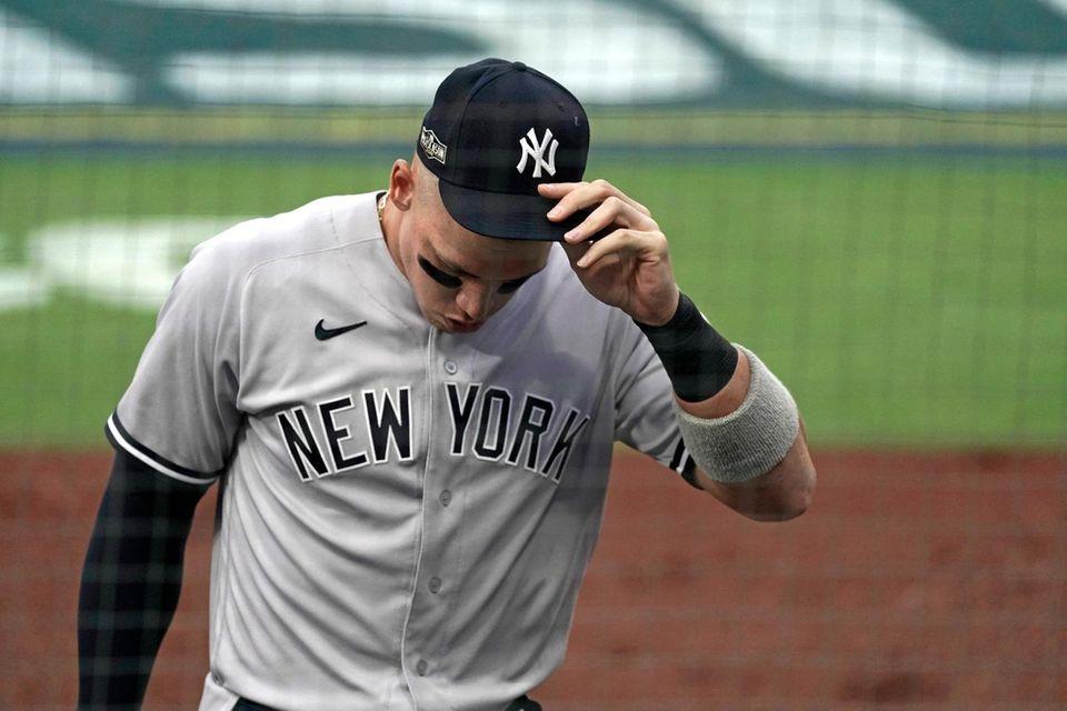 New York Yankees right fielder Aaron Judge walks