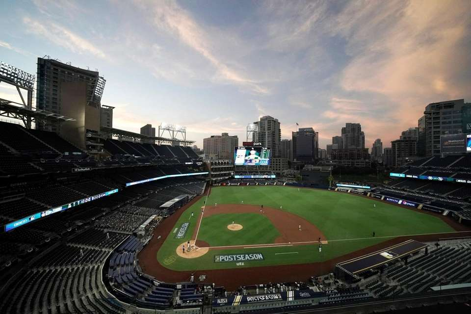 Petco Park is shown with empty seats at