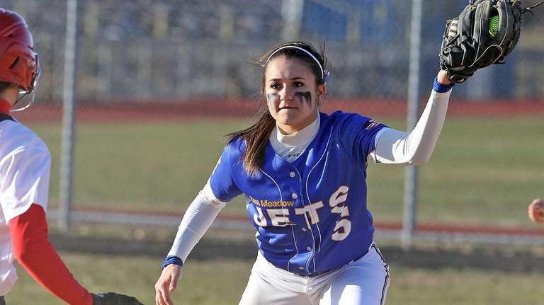 East Meadow's Taylor Conti makes the play at
