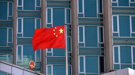 A view of Chinese flag flying at the