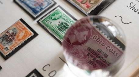 A 1957 stamp celebrating Ghana's independence is part