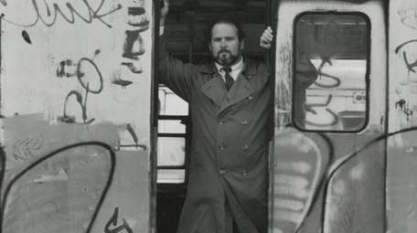 Jim Dwyer in an old subway car in
