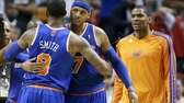 J.R. Smith and Carmelo Anthony congratulate each other