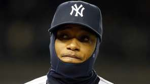 Robinson Cano of the Yankees looks on against