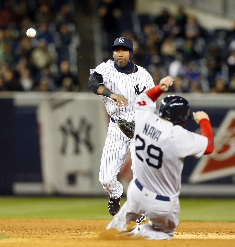 Eduardo Nunez of the Yankees throws to first
