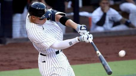Aaron Judge of the Yankees hits an RBI