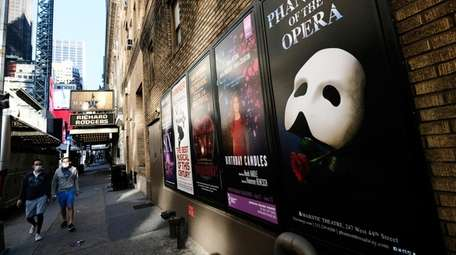 Broadway posters outside the Richard Rodgers Theatre in