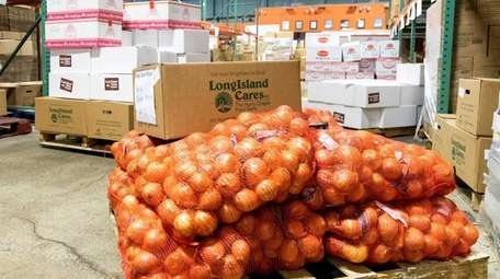 Food is sorted for distribution at Long Island