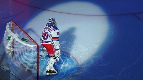 Rangers goalie Henrik Lundqvist against the Carolina Hurricanes