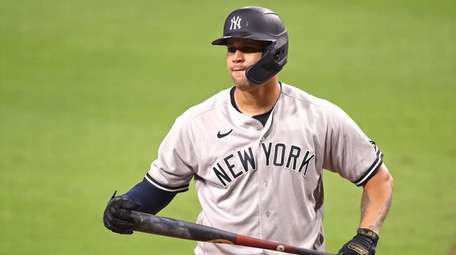 Gary Sanchez of the Yankees reacts after striking