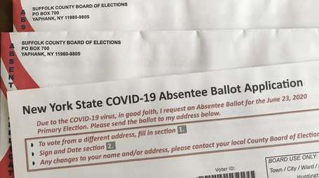 An application for a 2020 absentee ballot for