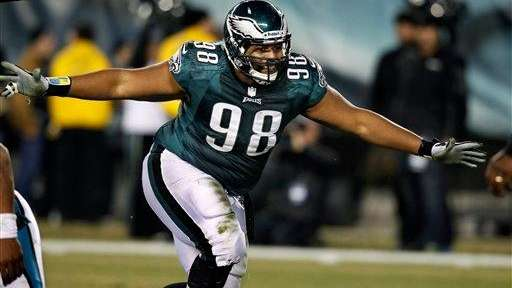 Philadelphia Eagles tackle Mike Patterson celebrates after sacking