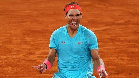 Rafael Nadal of Spain celebrates after winning championship