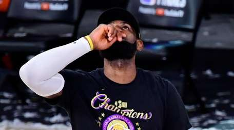 LeBron James of the Los Angeles Lakers reacts