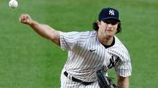 Gerrit Cole of the New York Yankees pitches