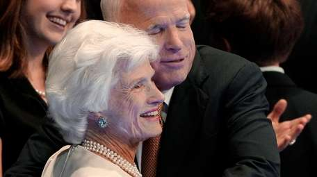 Republican presidential nominee John McCain embraces his mother,