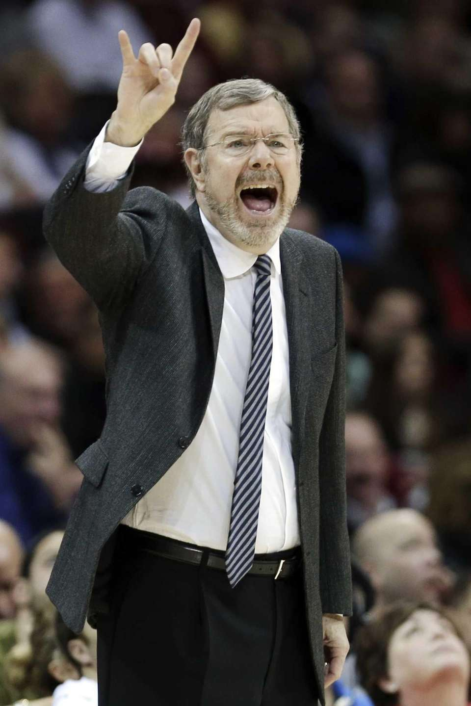 Nets interim head coach P.J. Carlesimo reacts during