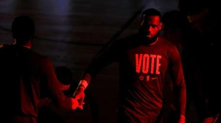 LeBron James of the Los Angeles Lakers walks