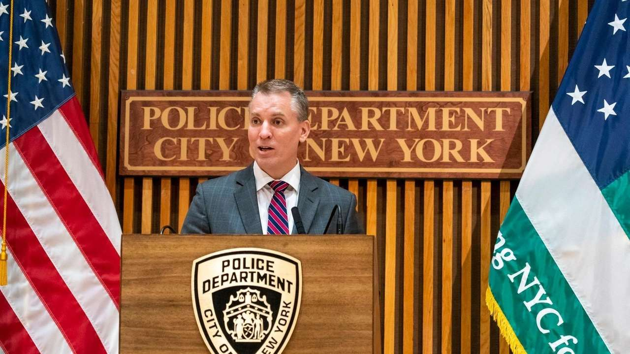 NYPD Commissioner Dermot Shea spoke at a news conference