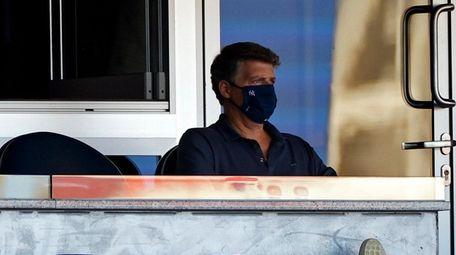 Yankees managing general partner Hal Steinbrenner watches during