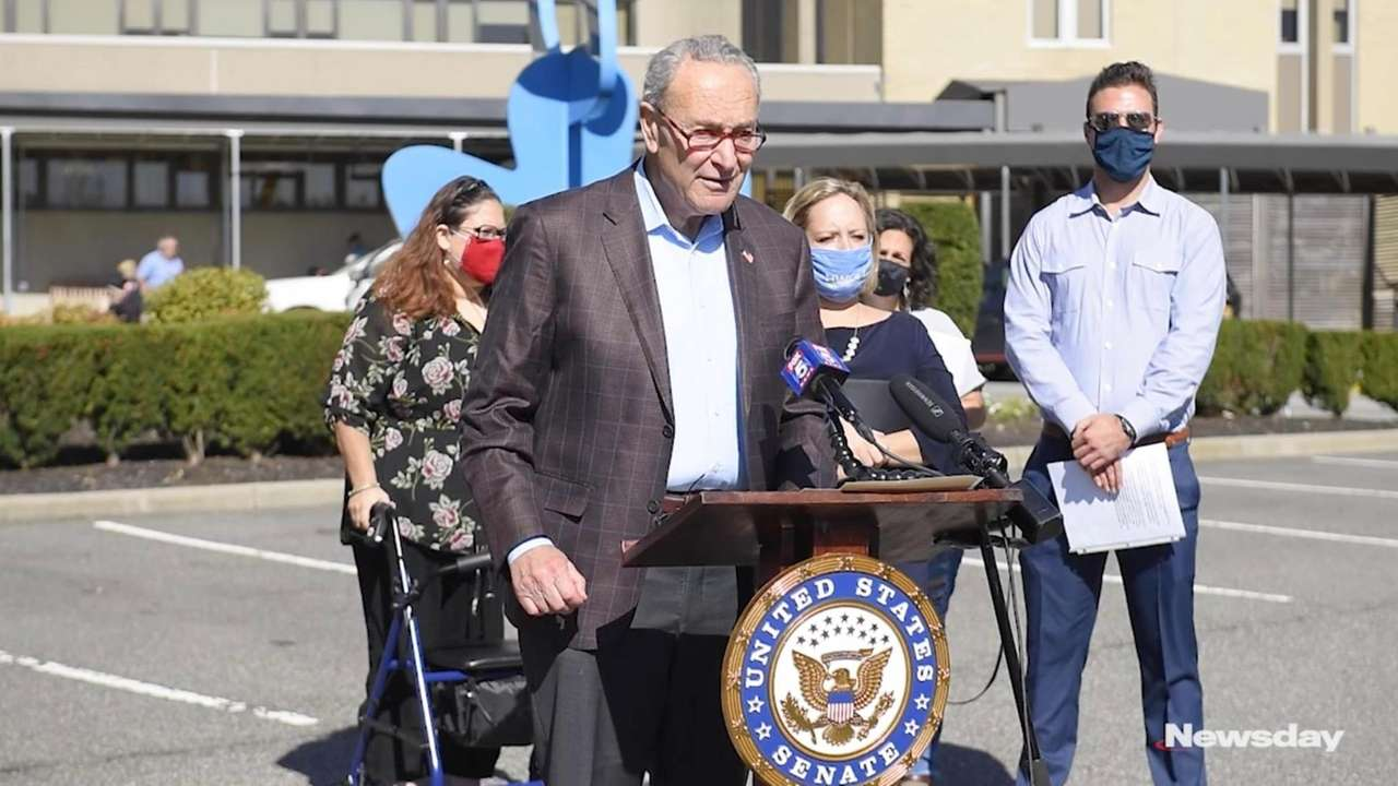 Sen. Chuck Schumer (D-N.Y.), spoke at a news conference