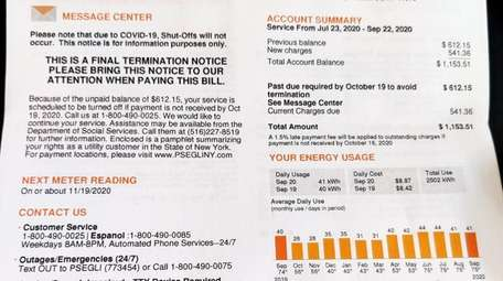 PSEG bills may include a termination notice but
