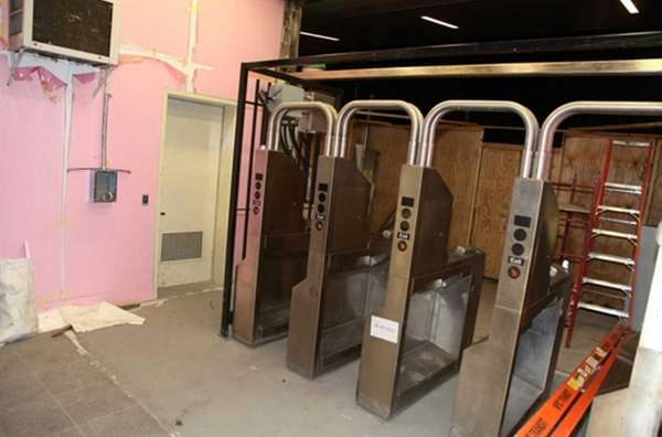 Newly installed turnstiles and gates at South Ferry