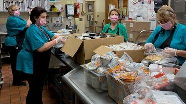 Food service workers at Bellport High School in
