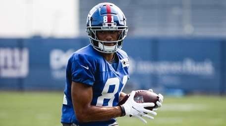 Austin Mack during Giants training camp on Aug.