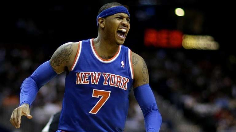 Knicks' Carmelo Anthony yells out looking for a