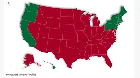 States in red are currently on New York's
