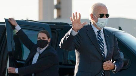 Former Vice President Joe Biden waves as he